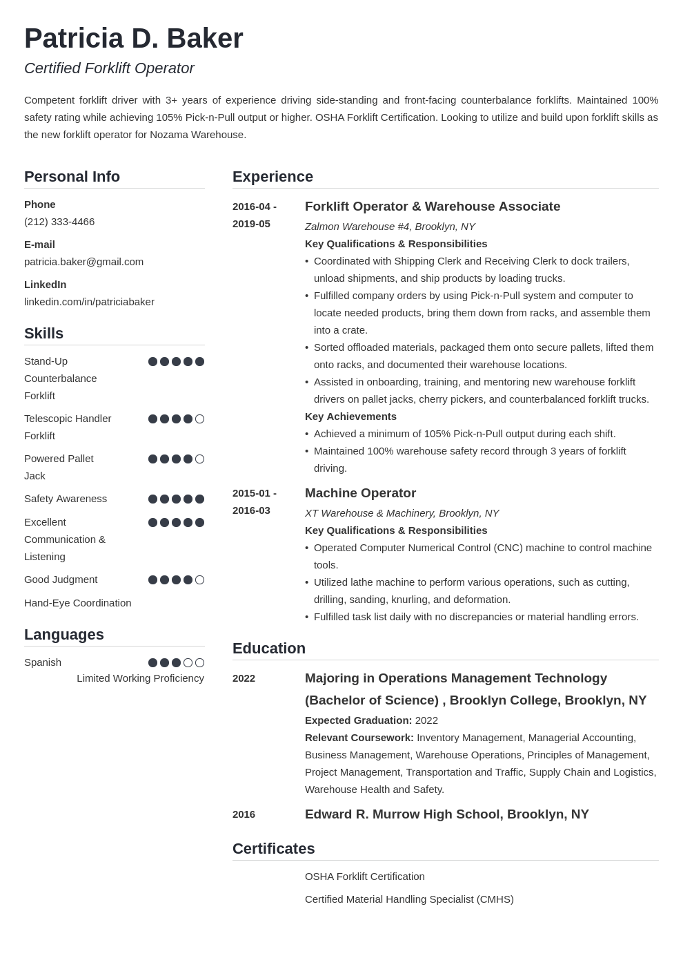 forklift operator resume example template simple