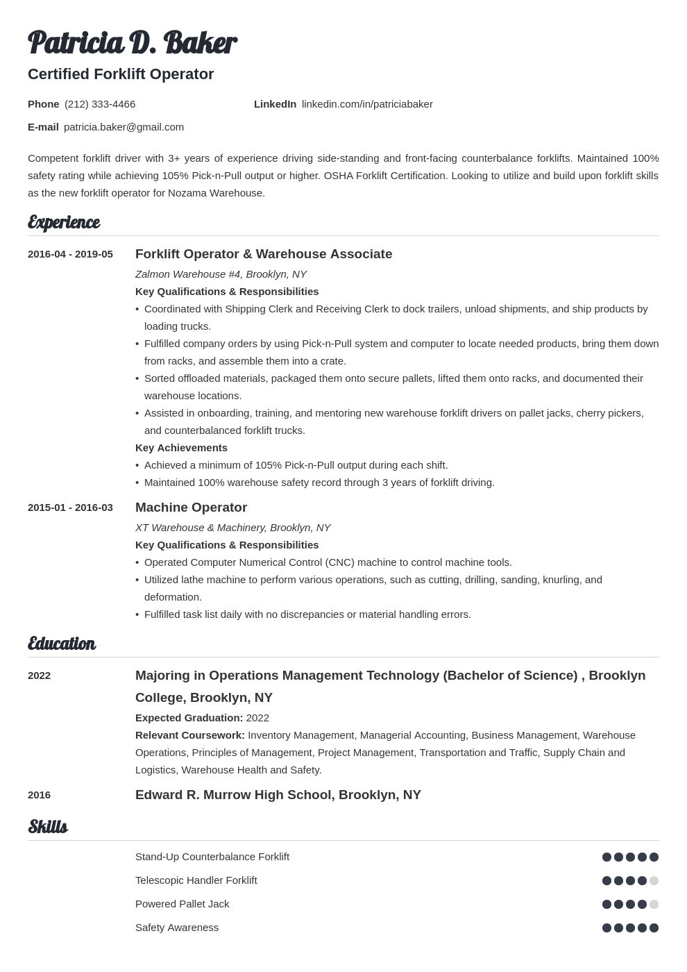 forklift operator resume example template valera