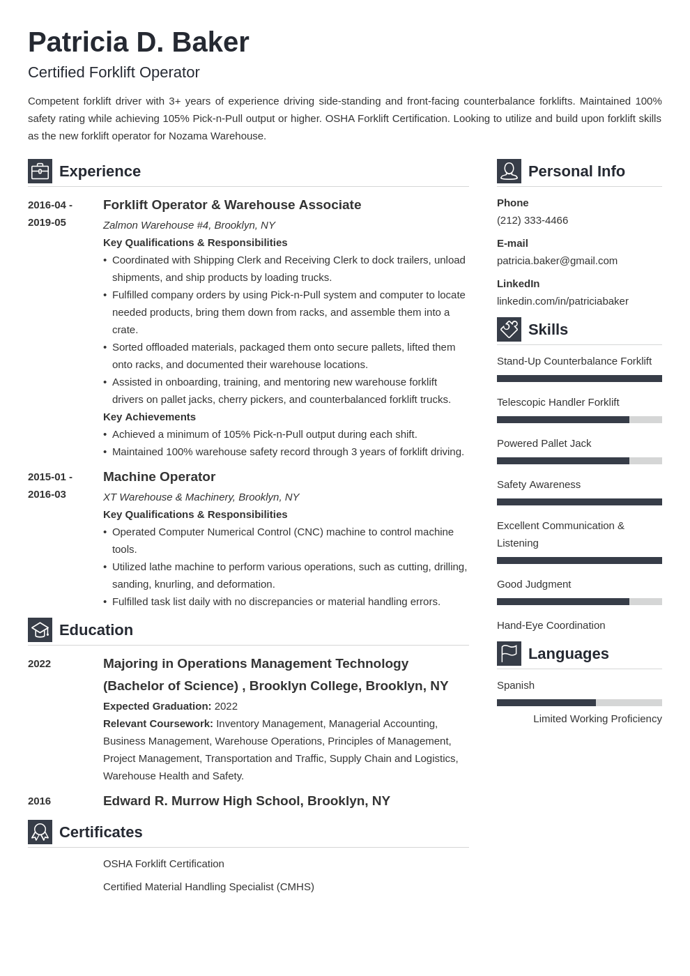 forklift operator resume example template vibes