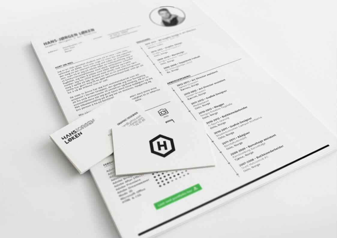 clean free template for resume with business cards