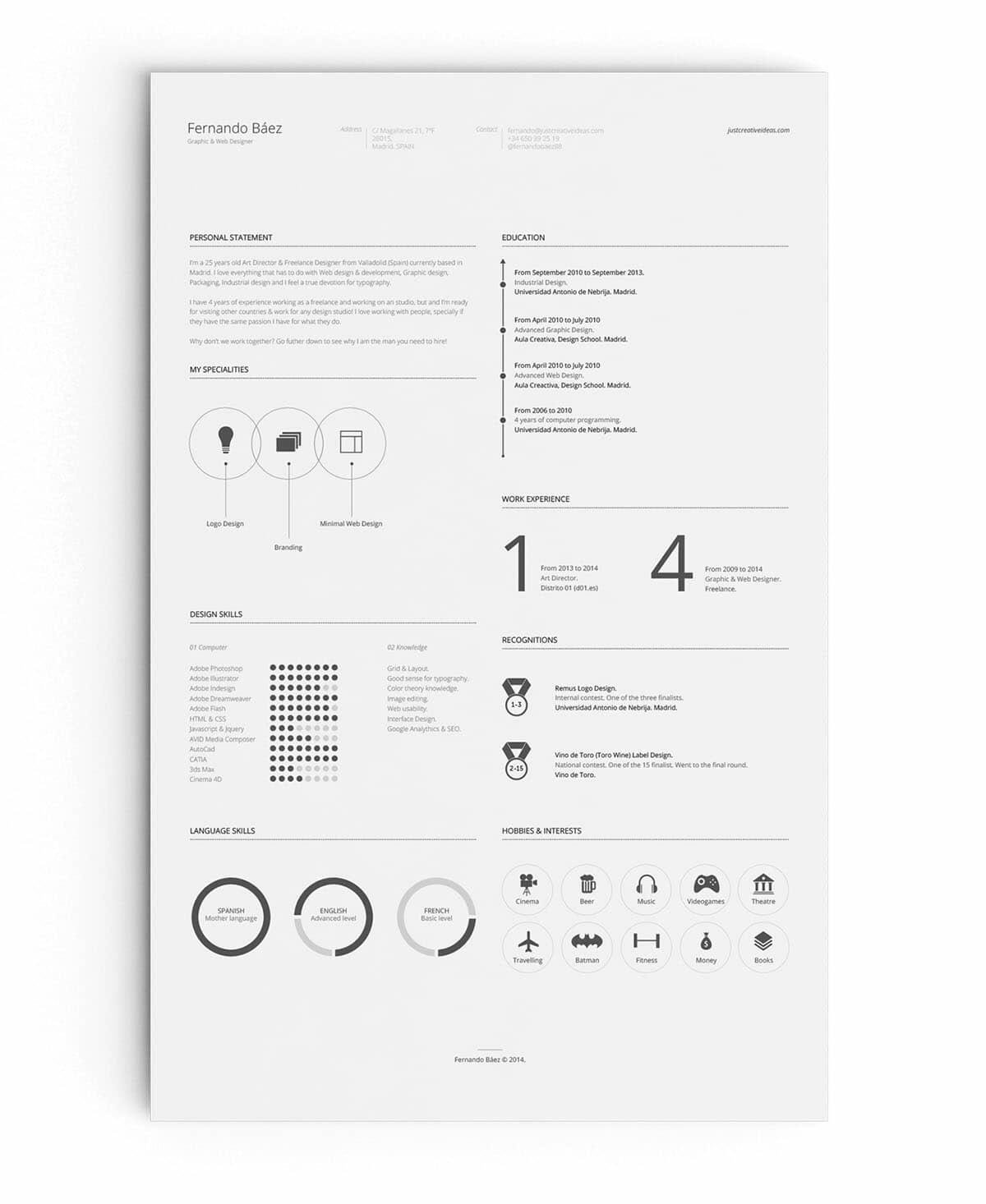 Best Free Resume Template With Lots Of White Space  Concise Resume Template