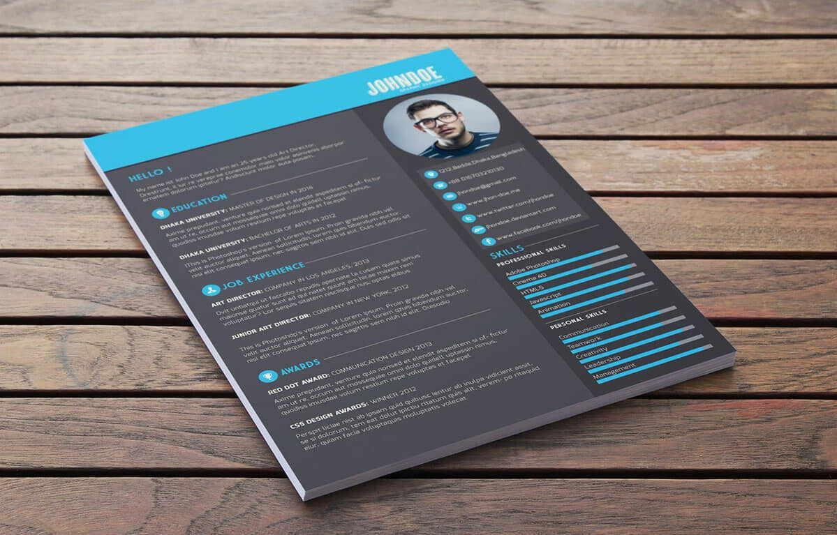 dark free modern resume template with blue elements