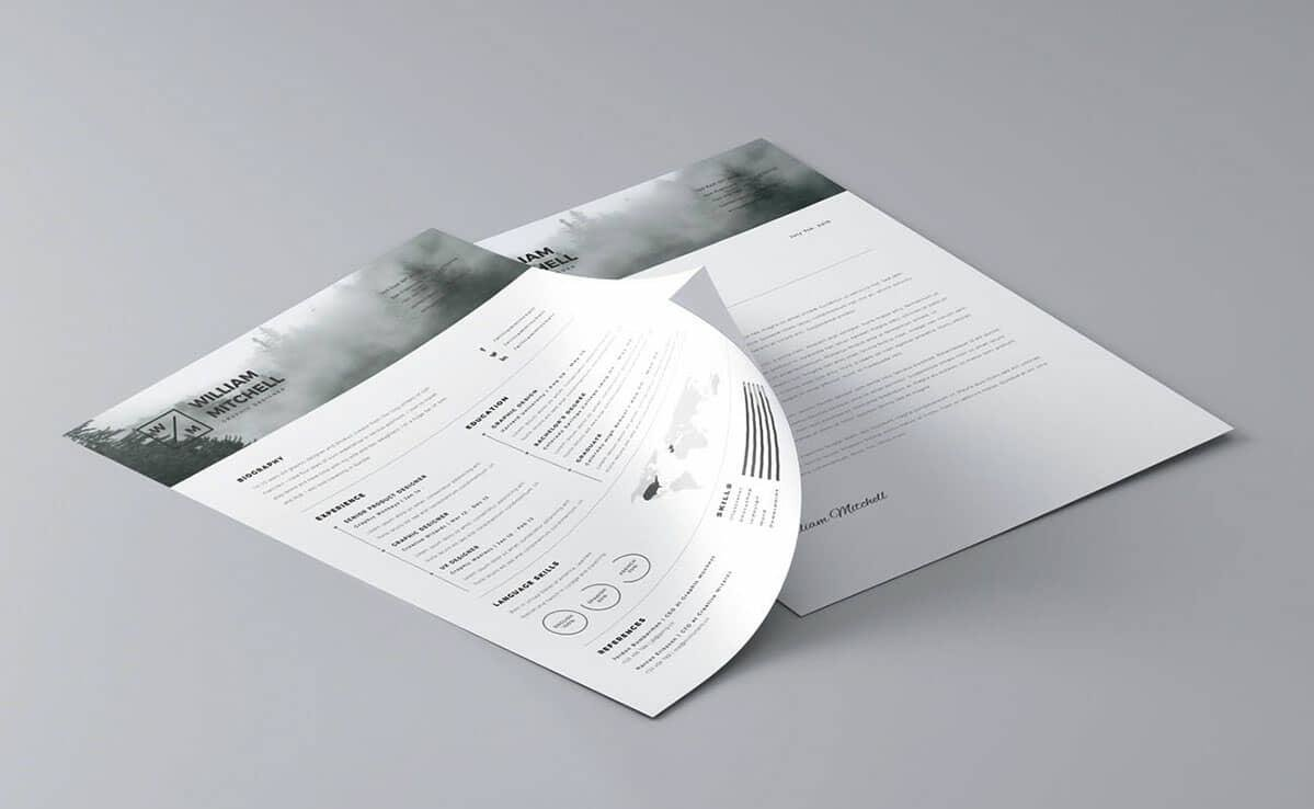 black and white free resume templates with photo in header