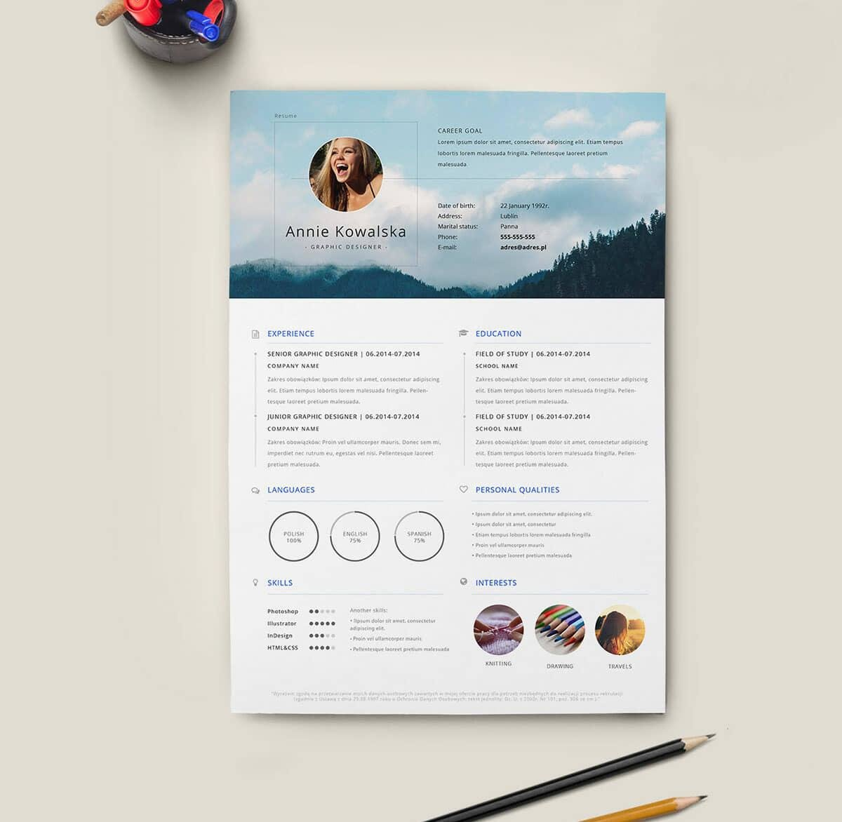 creative free resume template with tall picture header - Graphic Resume Templates Free