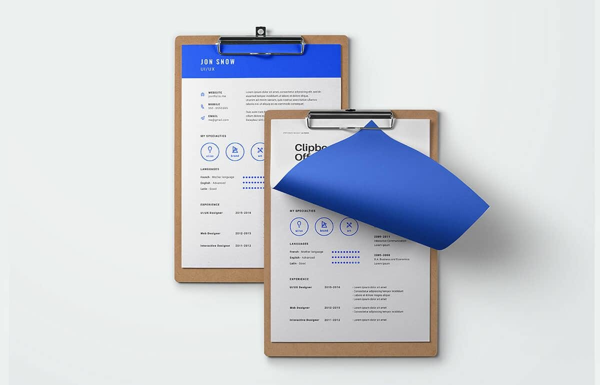 simple free resumes with blue elements