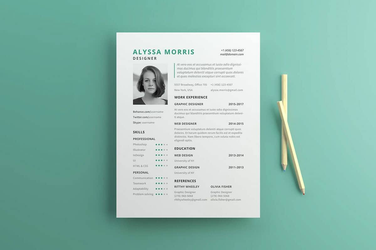 free resume sample in us letter size