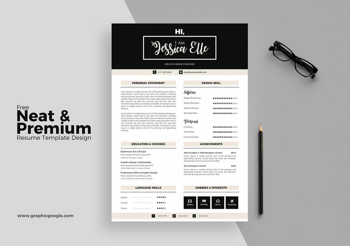 Great Downloadable Free Resume With Elegant Layout. U201c