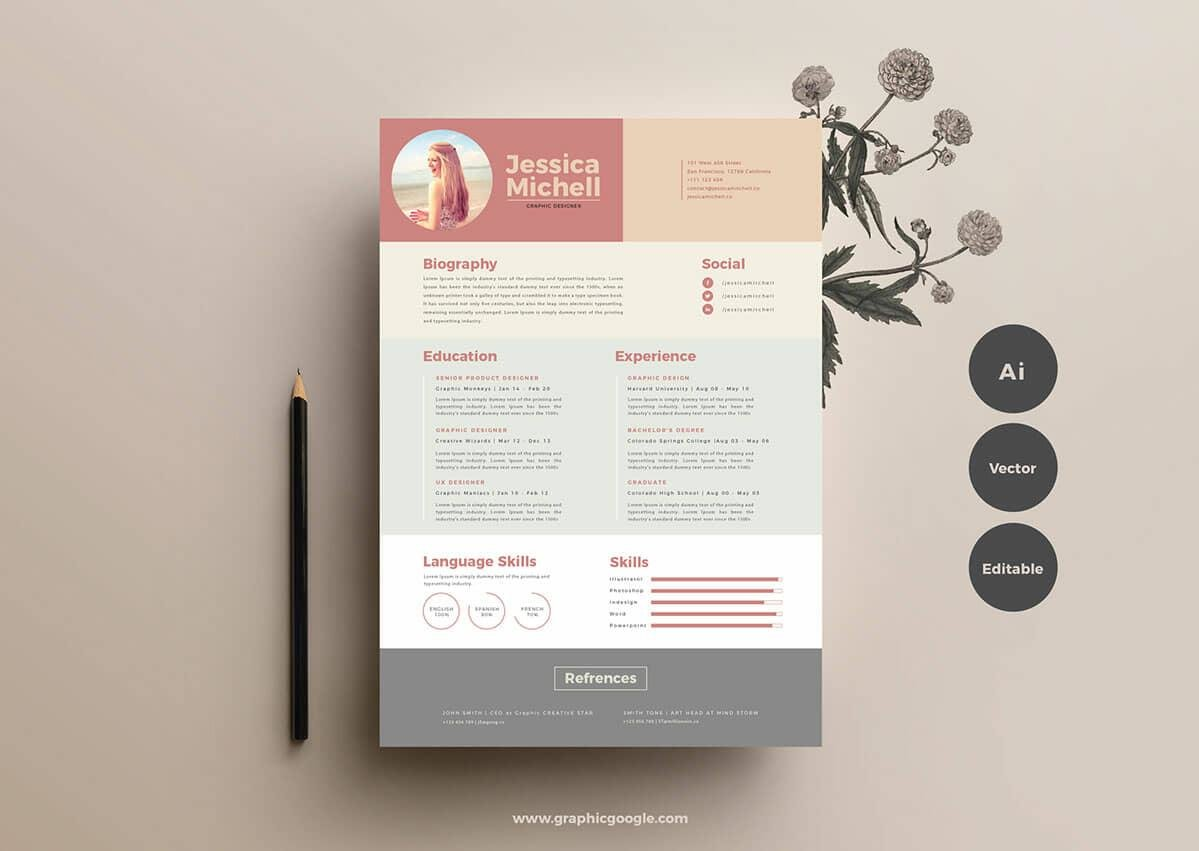 free resume format in powder pink