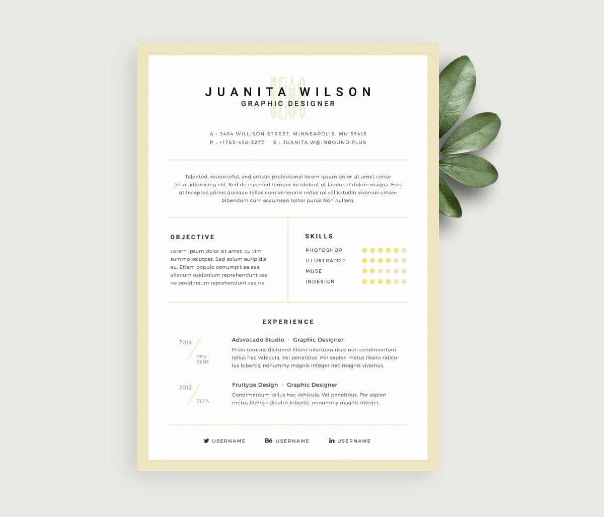 minimalistic resume for free
