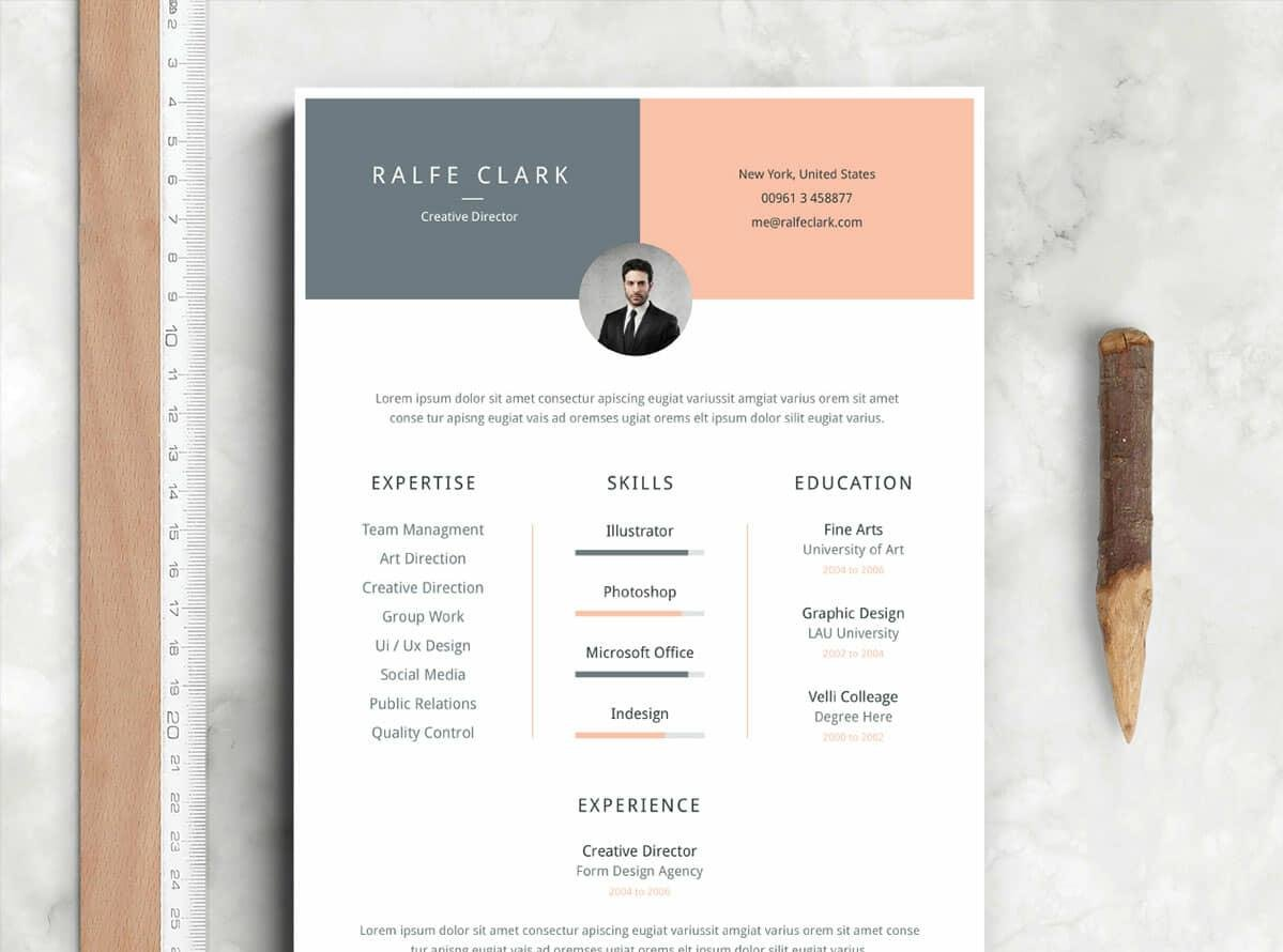 skimmable free job resume in pink and grey