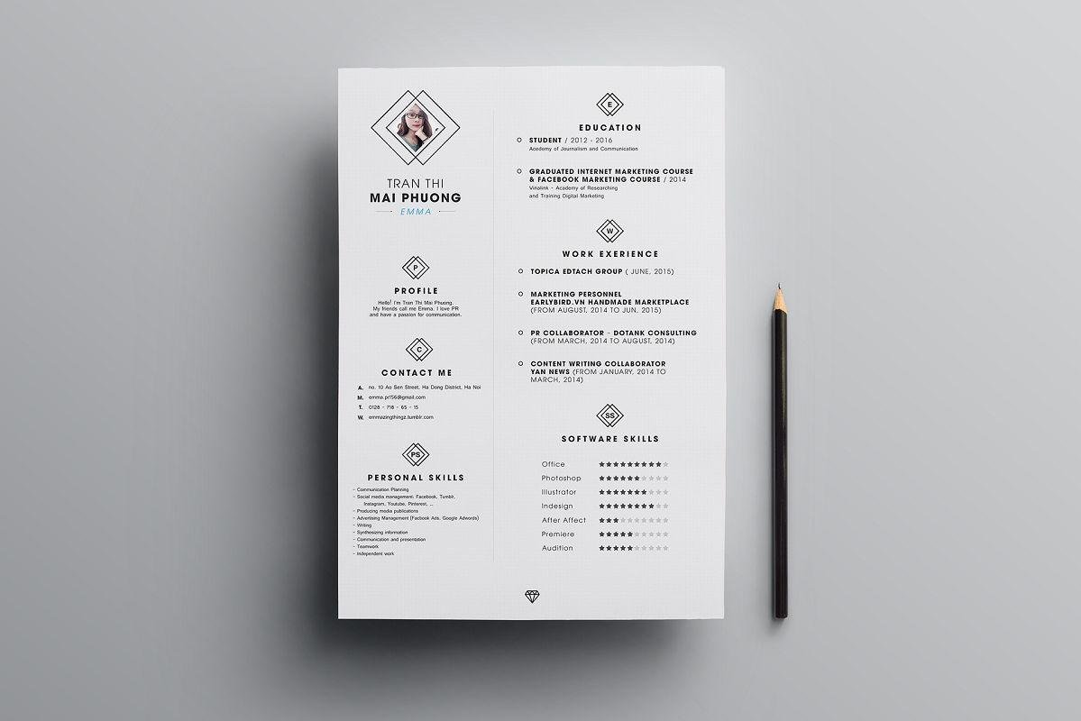 Free Printable Resume In Black And White. U201c