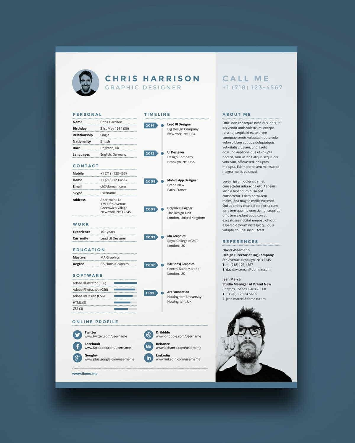 blue free sample resume with long experience section - Resume Template For Free