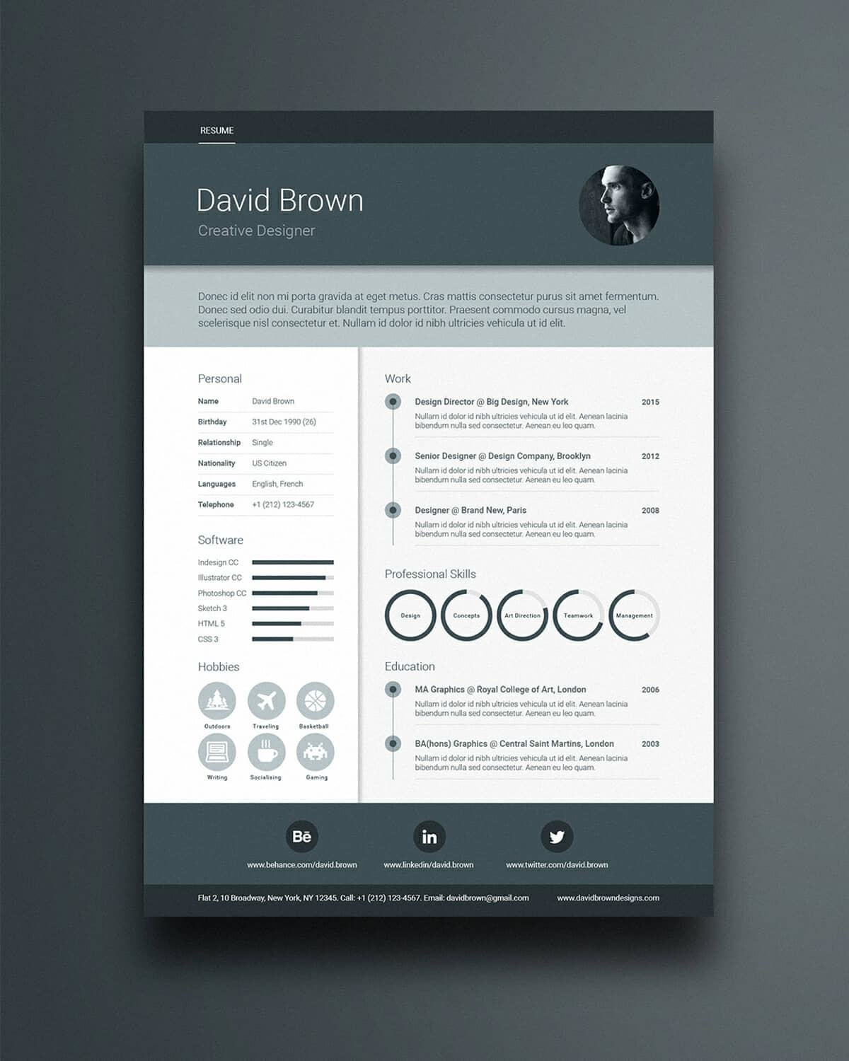 free printable resume template in dark colors - Free Design Resume Templates