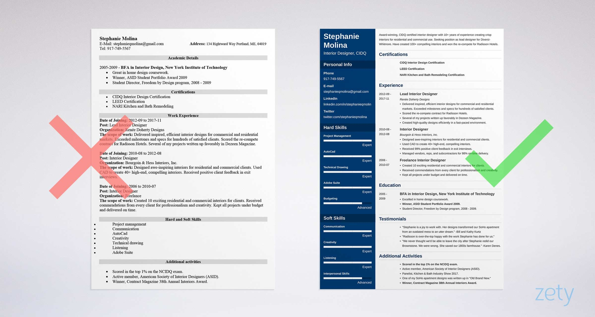 bad and good resume templates comparison - Free Designer Resume Templates