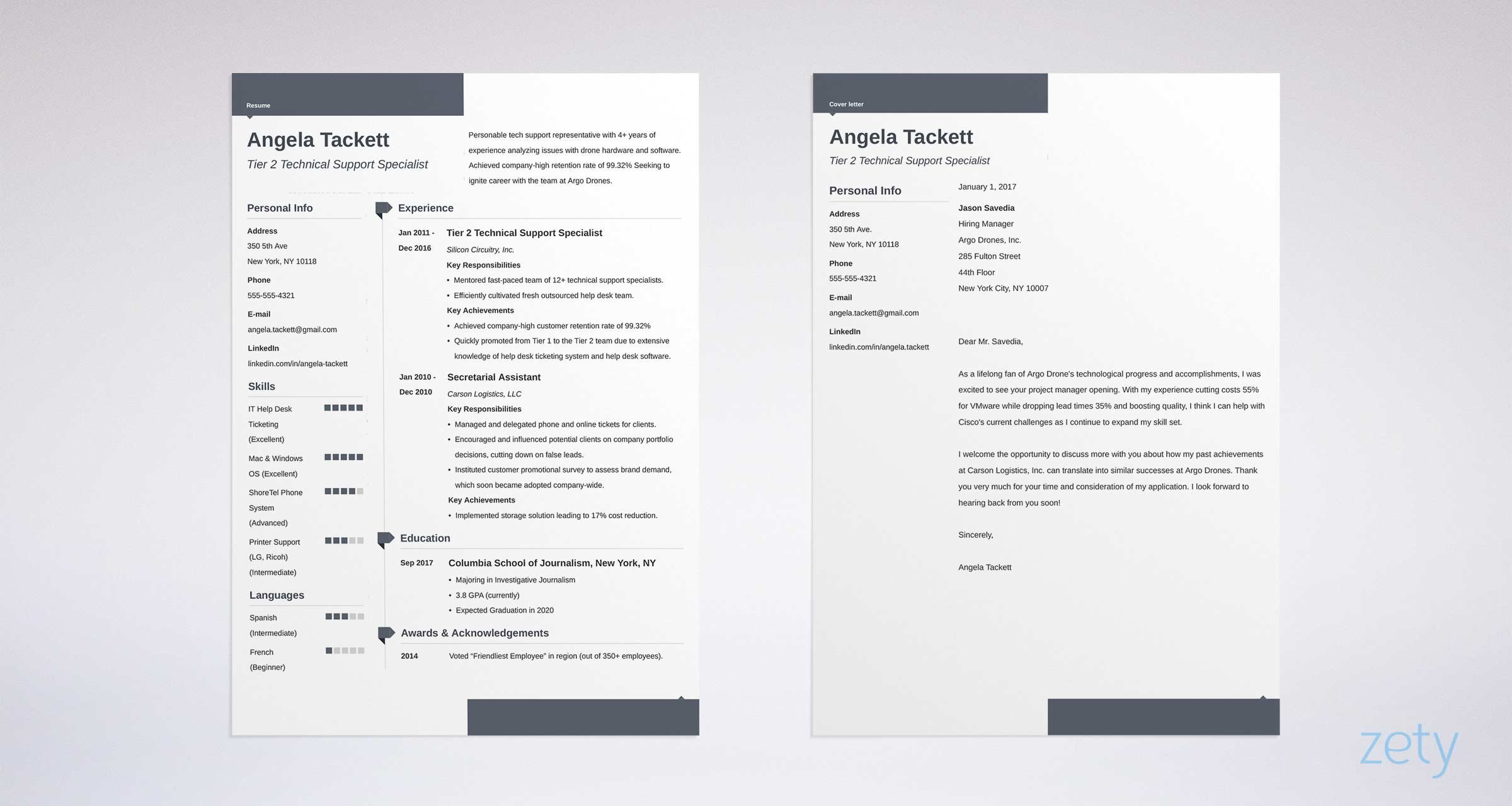 Elegant Cover Letter And Resume Templates