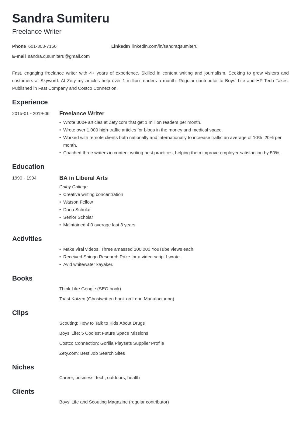 Freelance Writer Resume Sample Template Guide