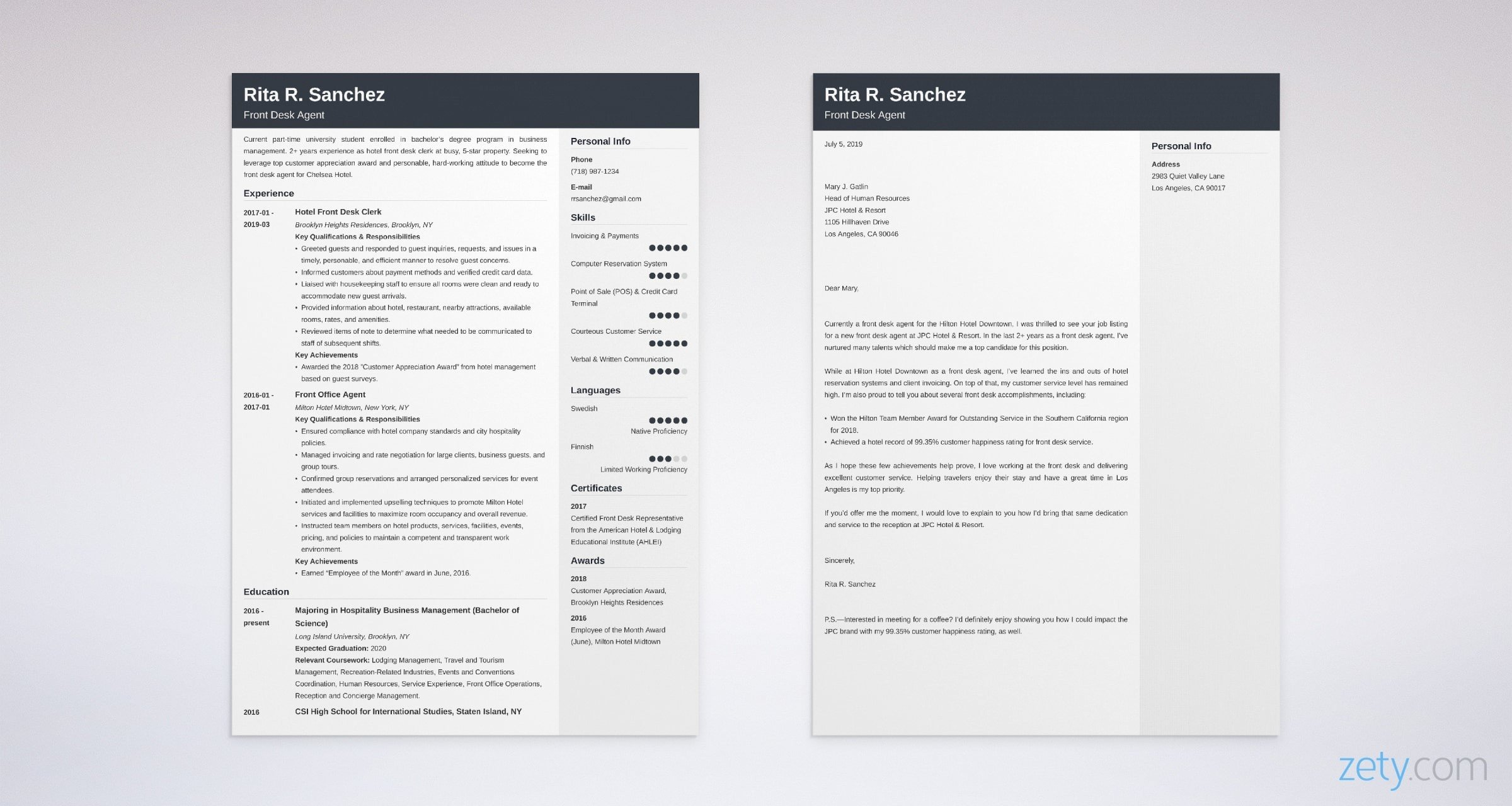 front desk resume and cover letter set