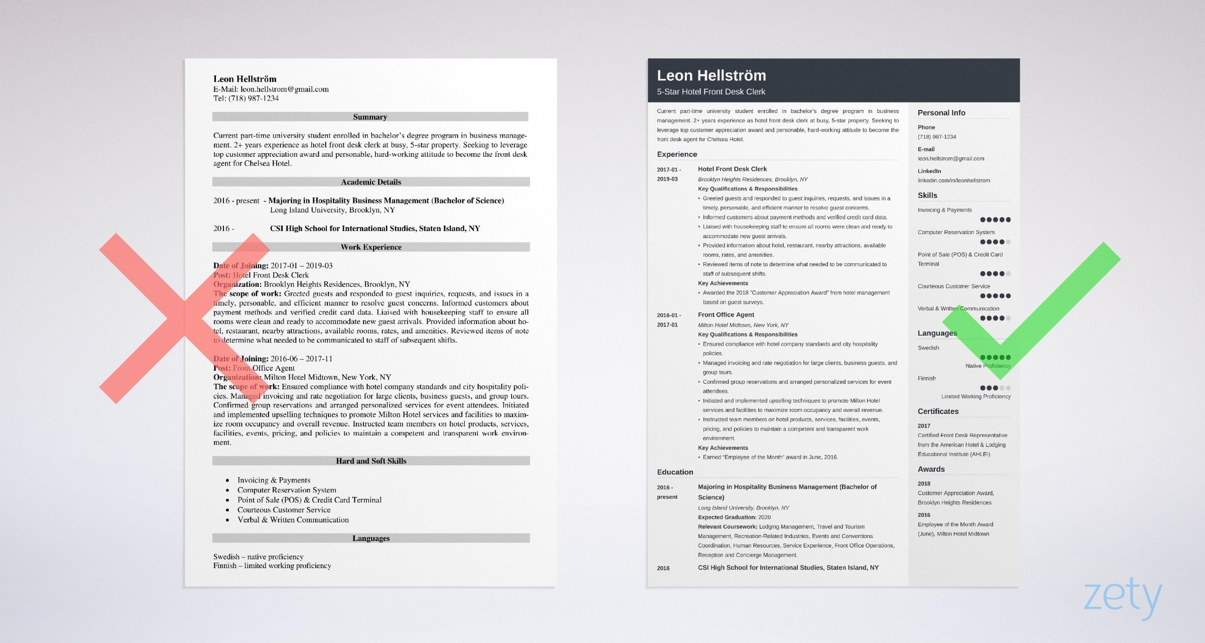 front desk resume templates