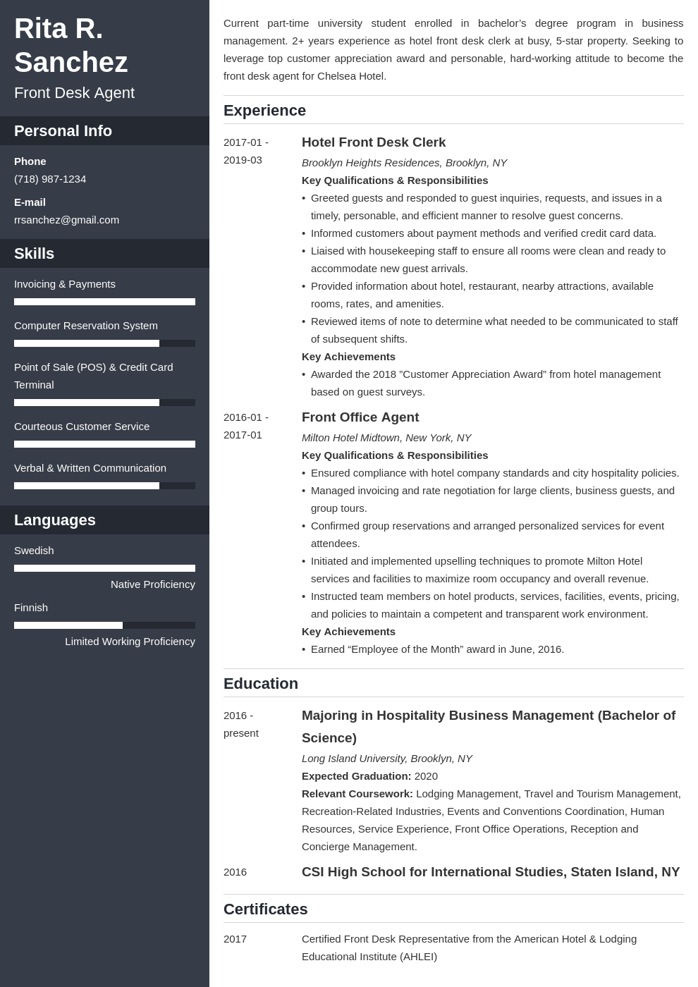 front desk resume example template cascade