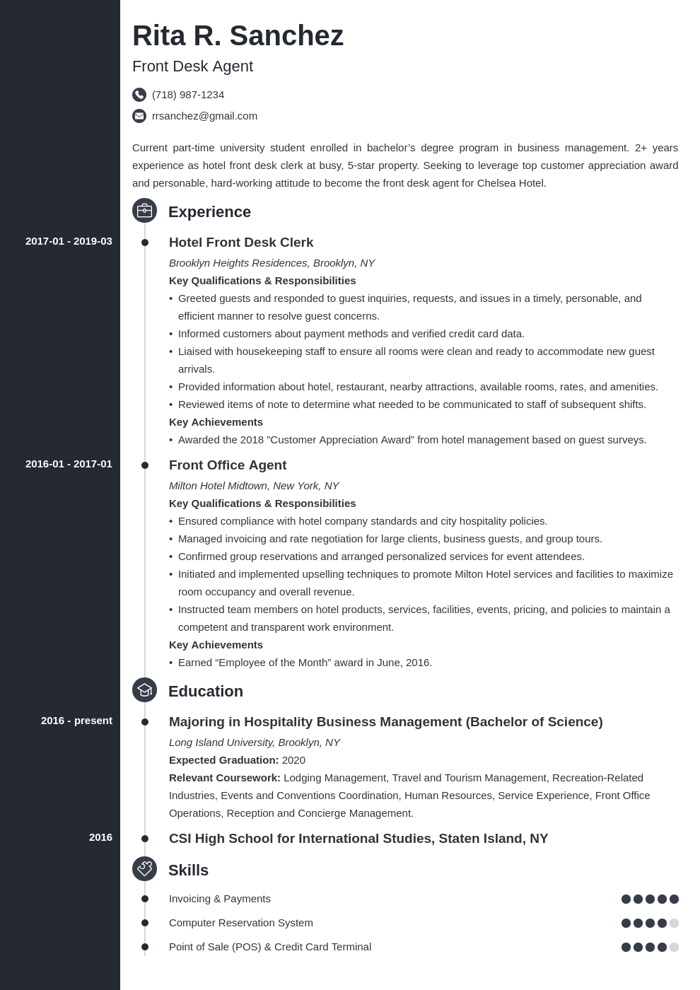 front desk resume example template concept