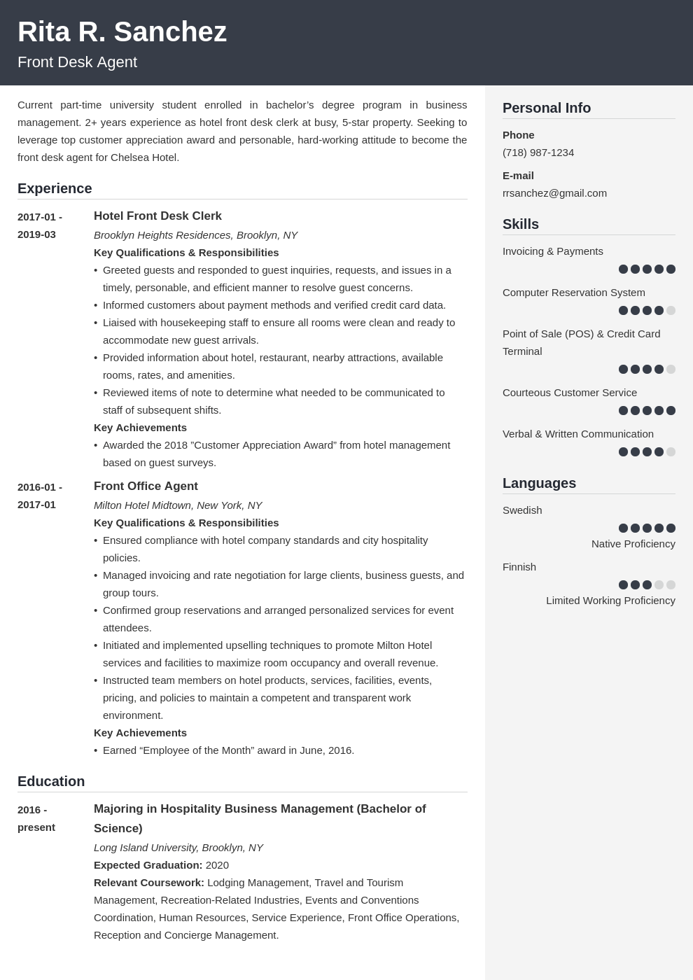 front desk resume example template cubic