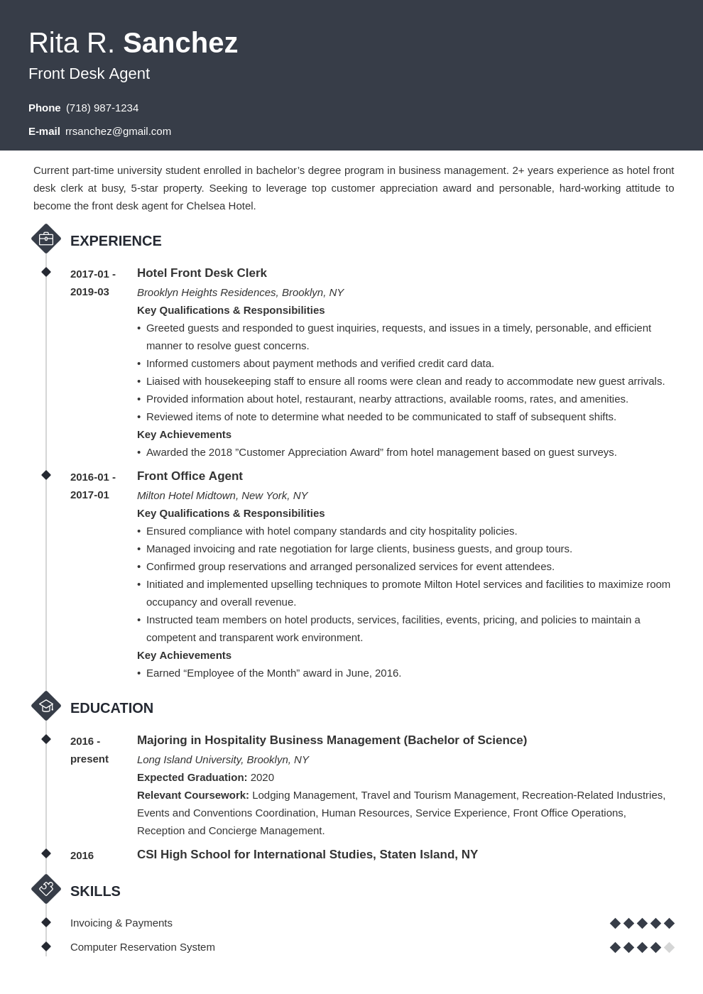 front desk resume example template diamond
