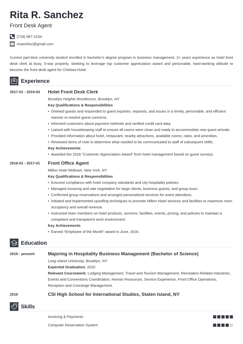 front desk resume example template iconic