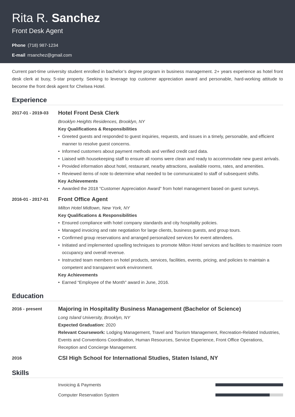front desk resume example template influx