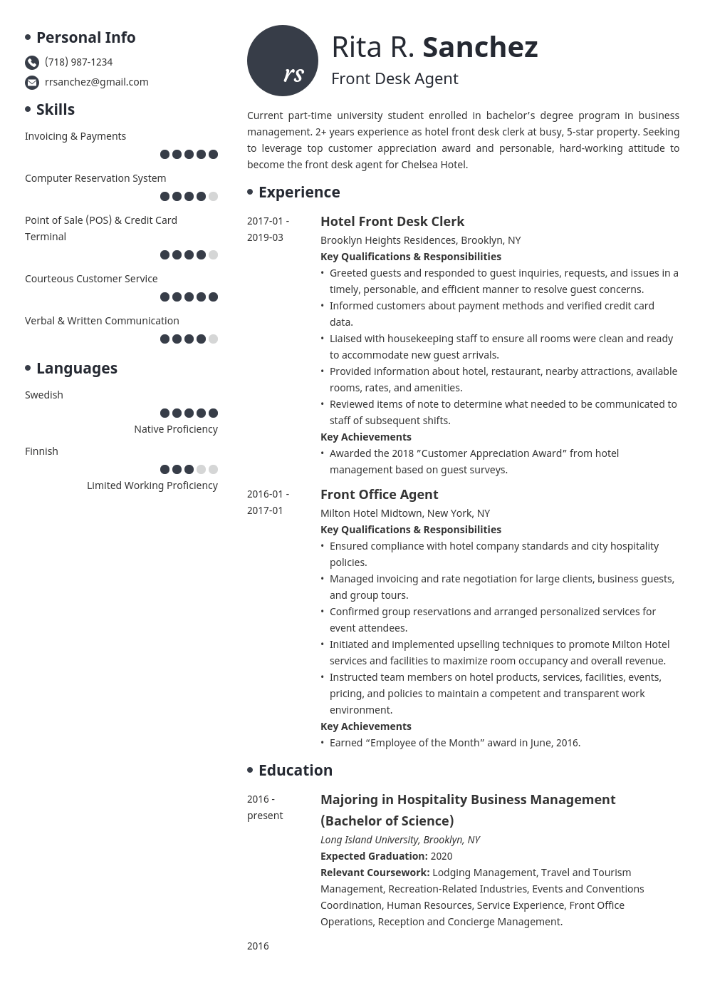 front desk resume example template initials