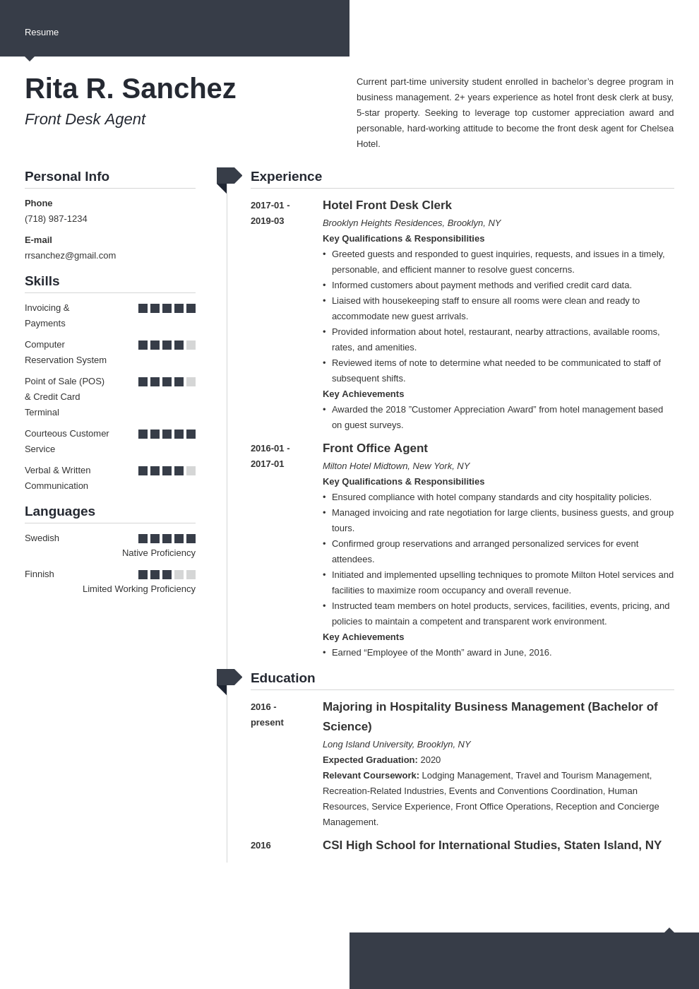 front desk resume example template modern