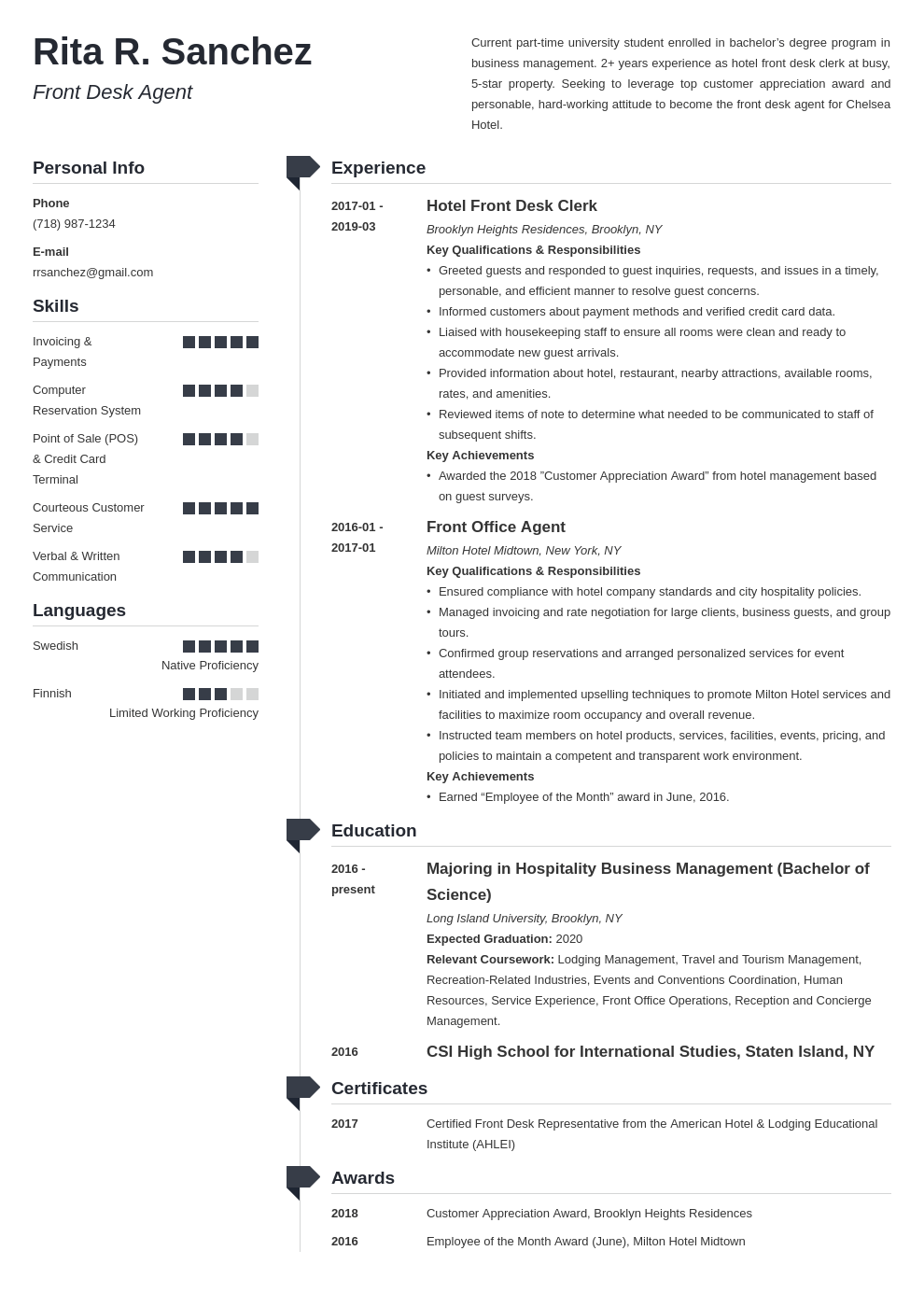 front desk resume example template muse