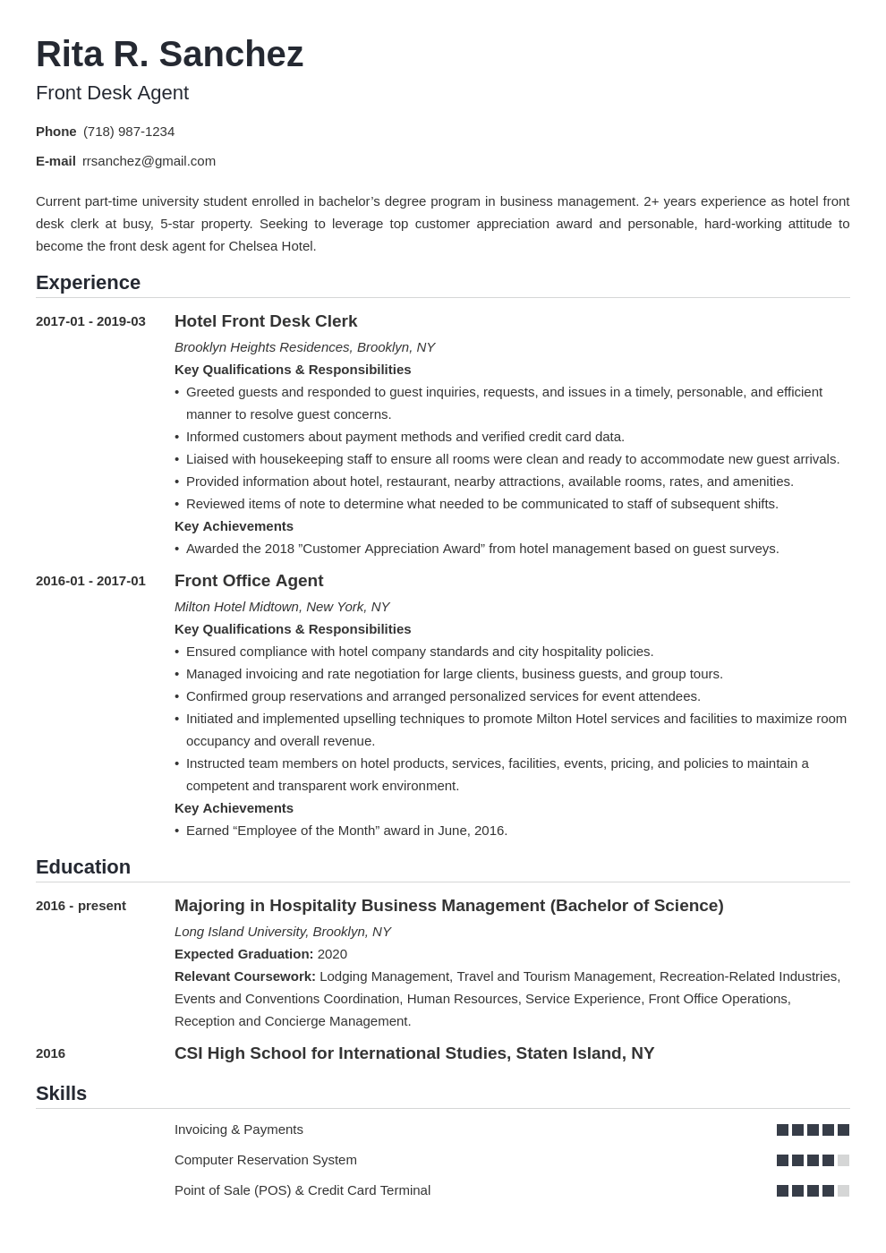 front desk resume example template nanica