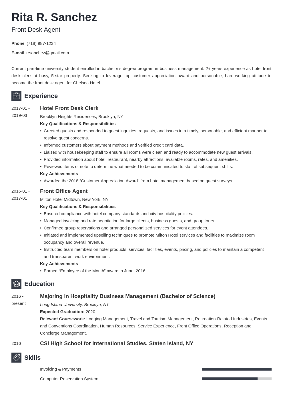 front desk resume example template newcast