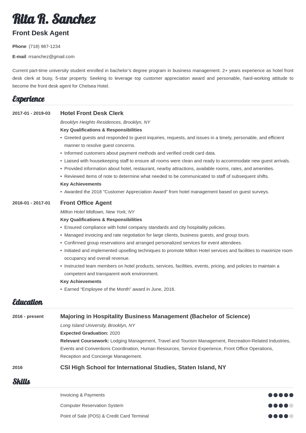 front desk resume example template valera