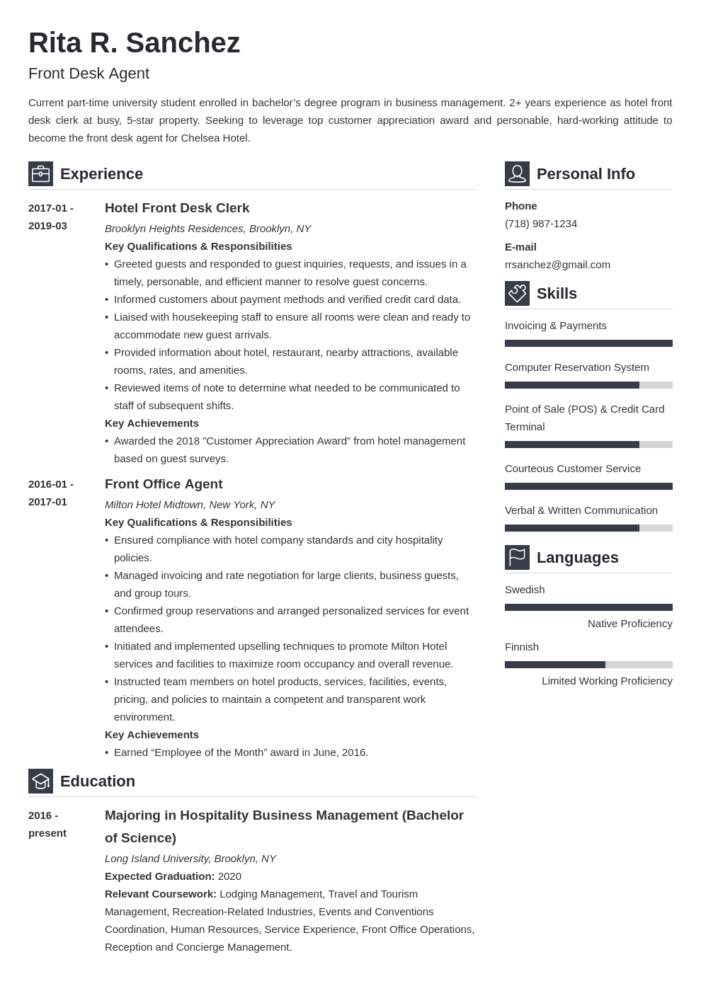 front desk resume example template vibes