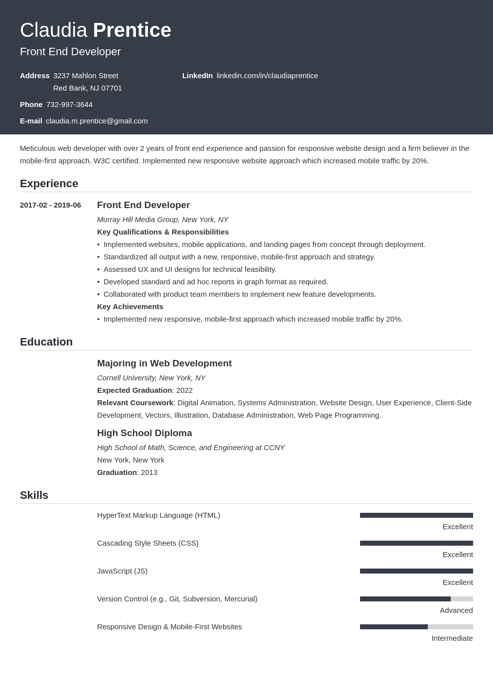 front end developer resume example template influx