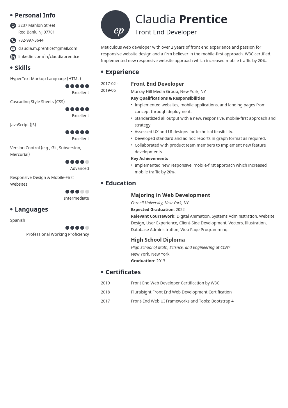 front end developer resume example template initials