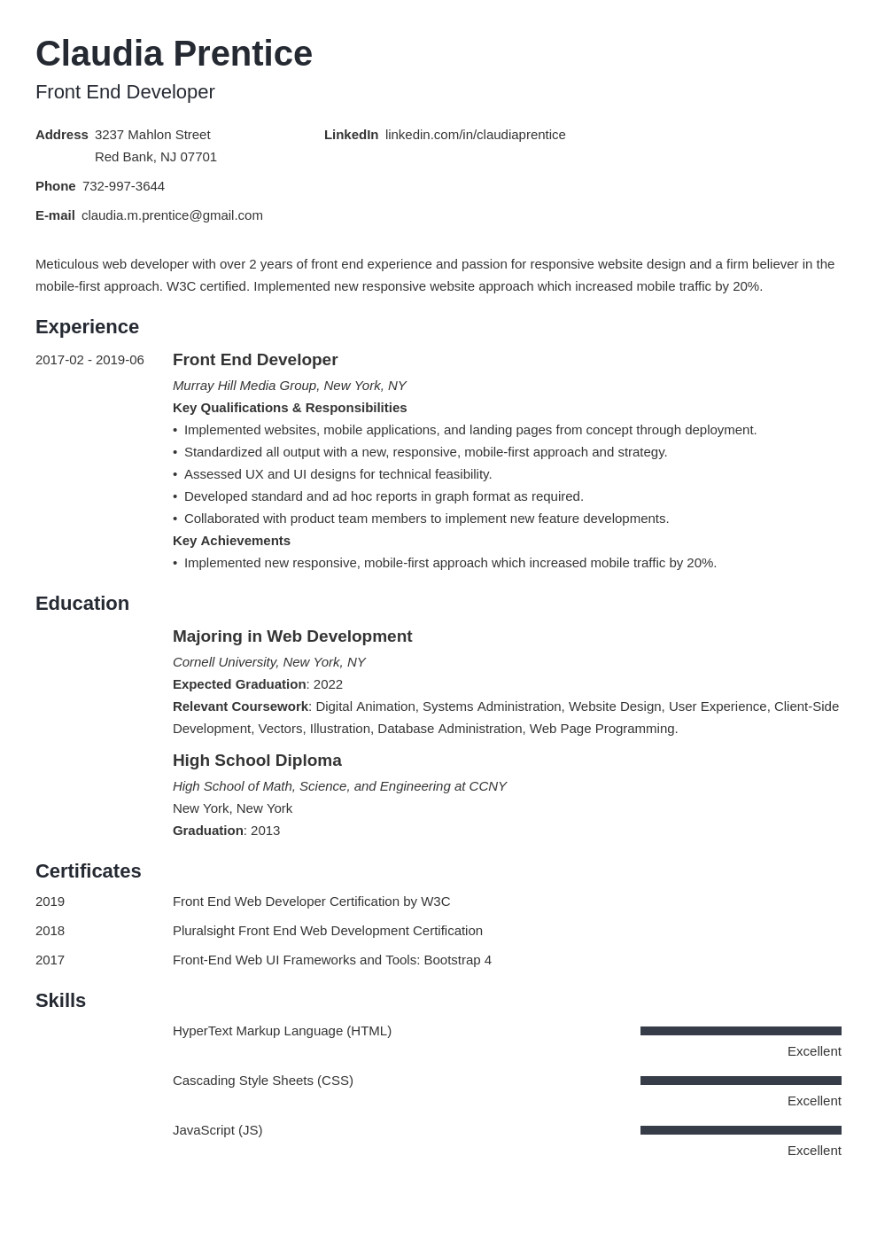 Front End Developer Resume Example Guide 20 Tips