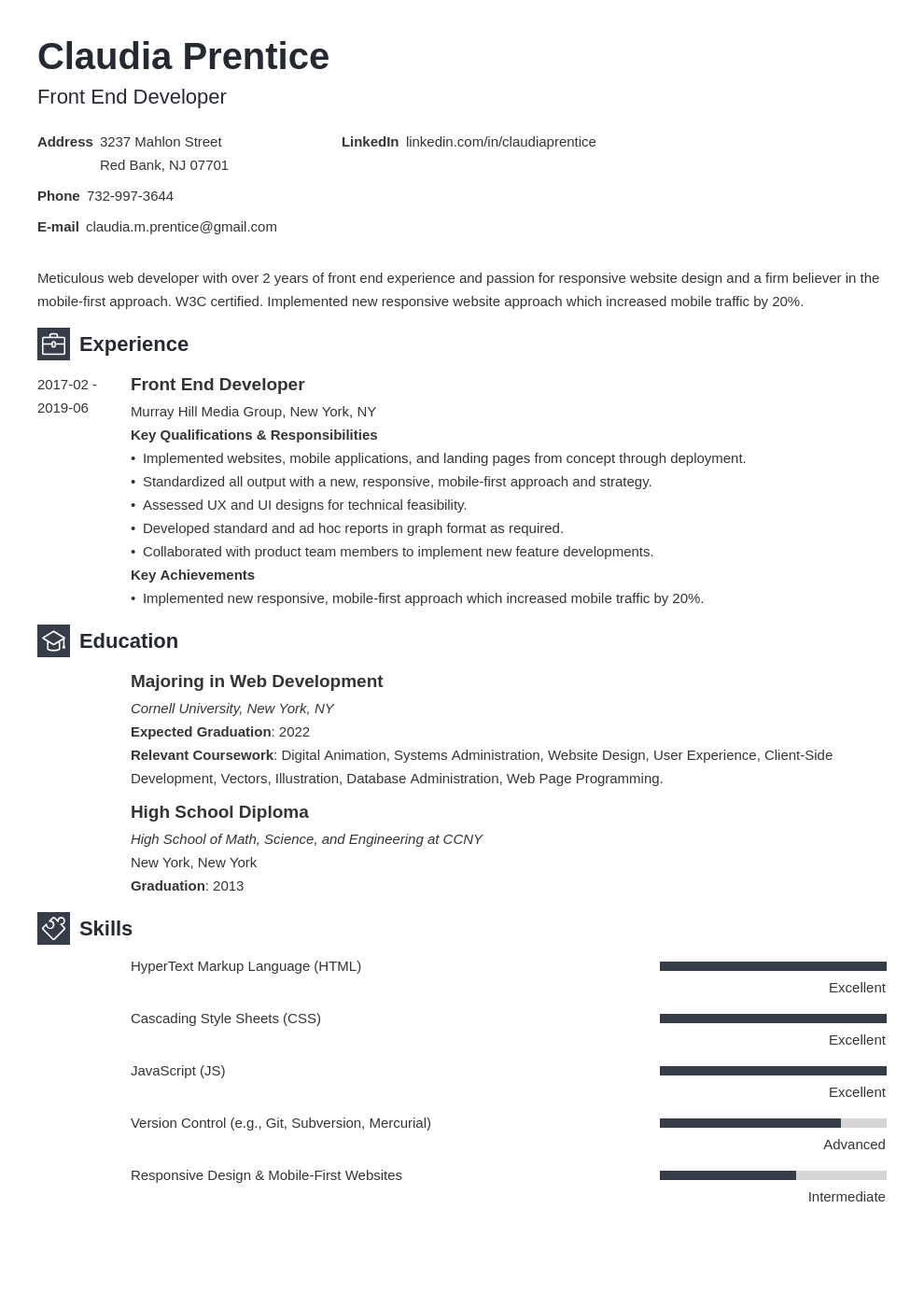 front end developer resume example template newcast
