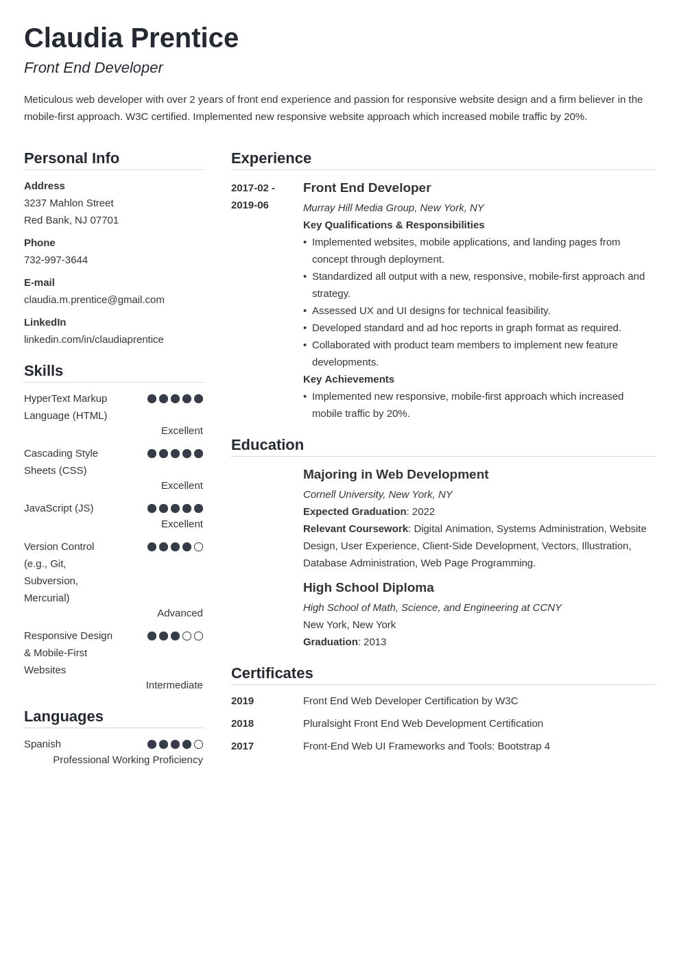front end developer resume example template simple
