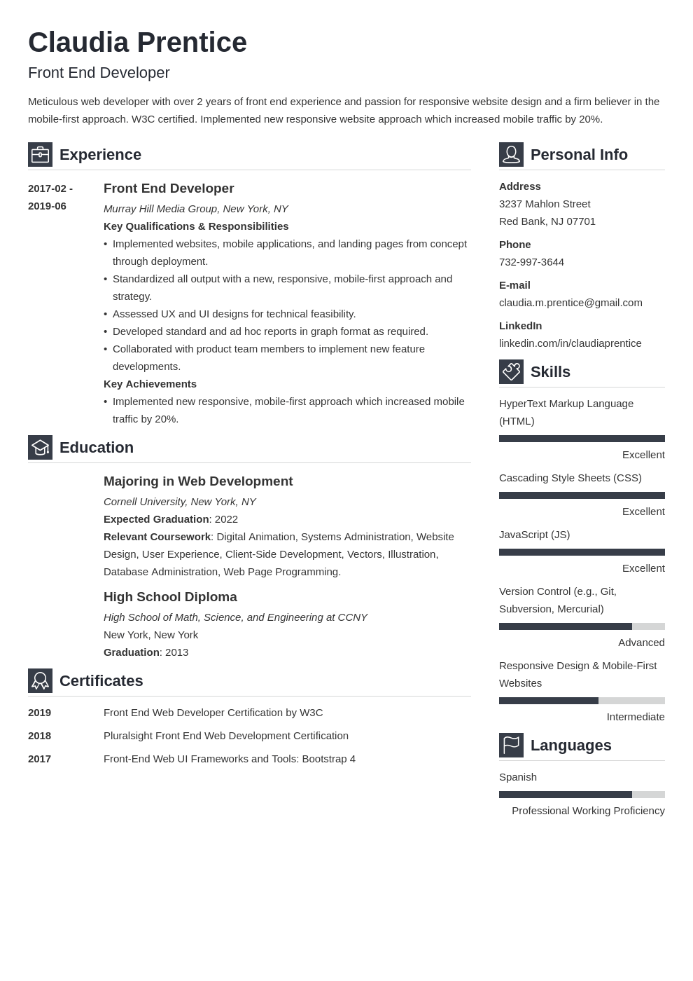 front end developer resume example template vibes