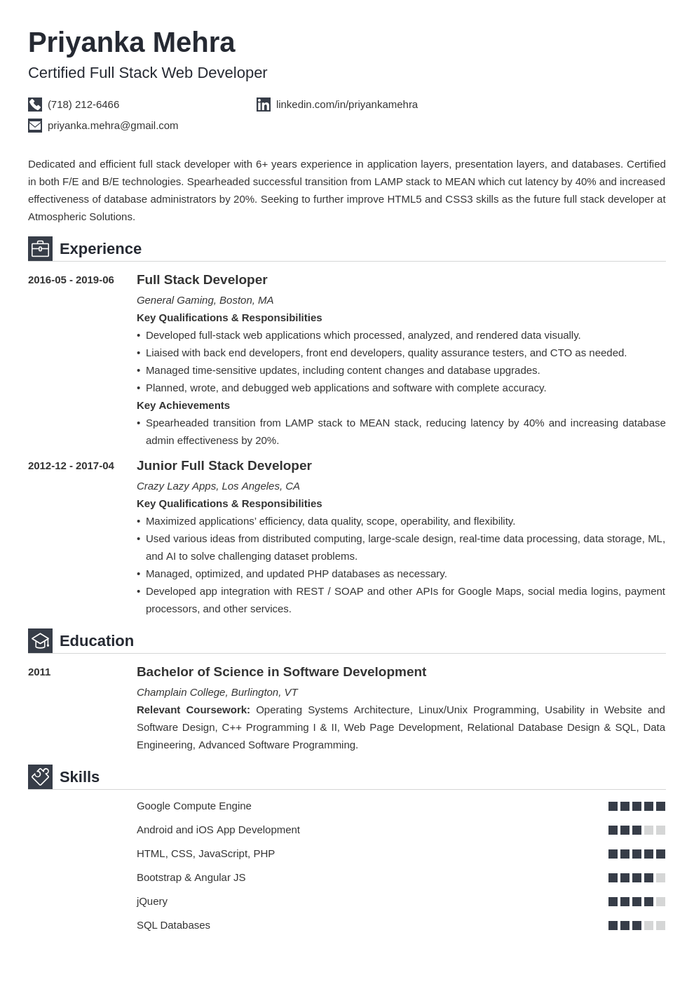 full stack developer resume example template iconic