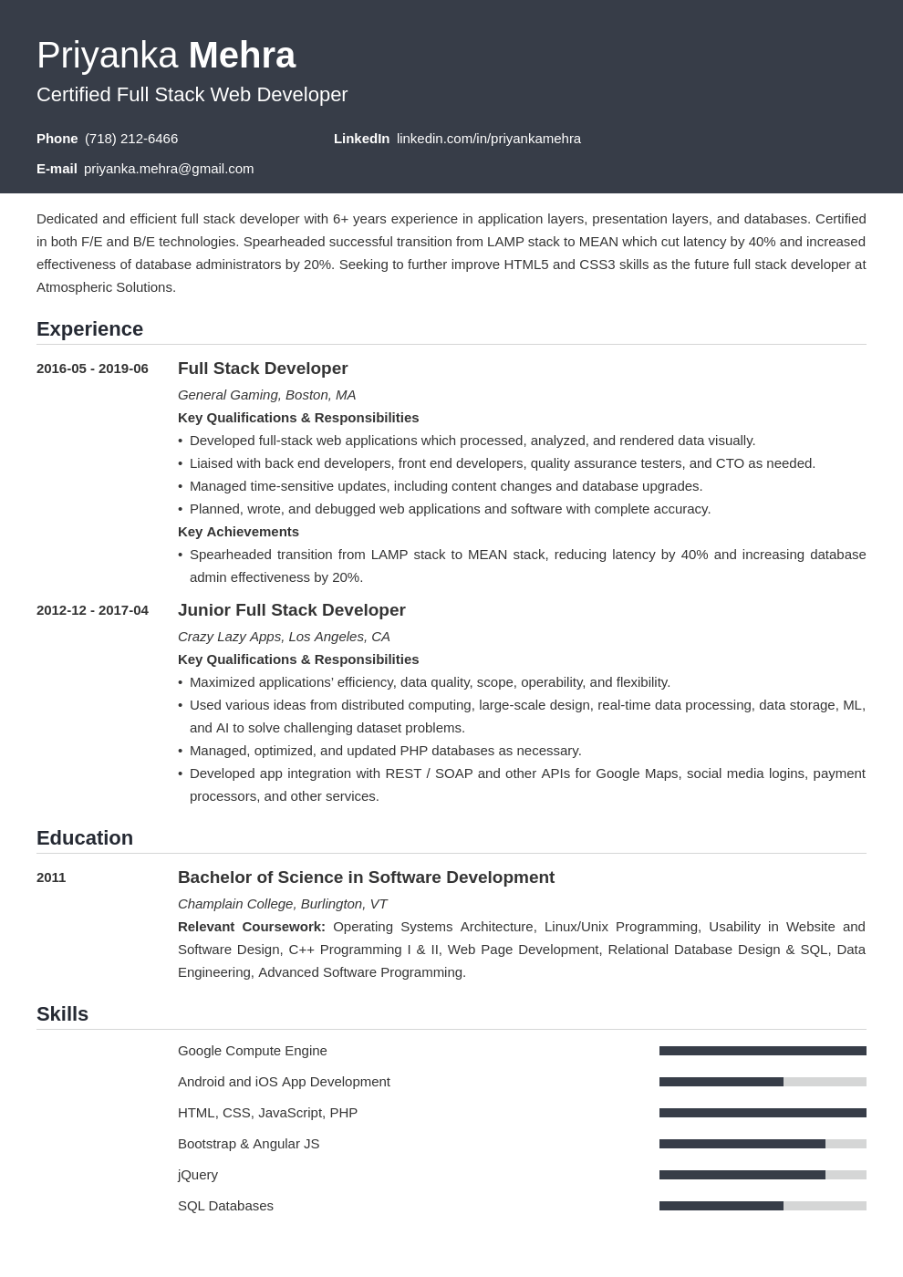 full stack developer resume example template influx