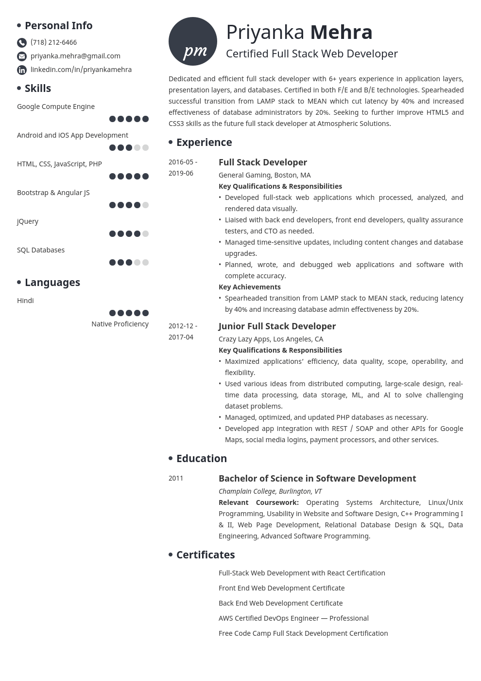 full stack developer resume example template initials