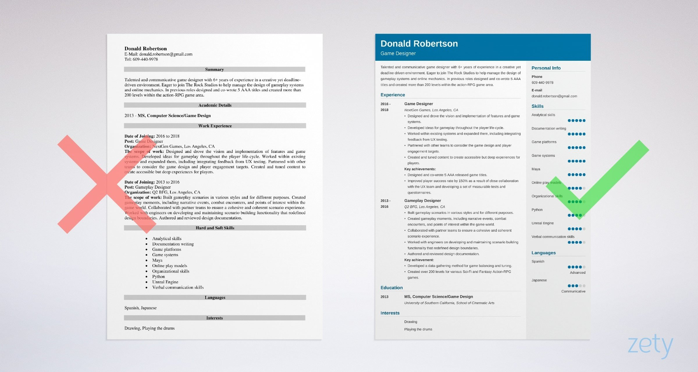 game designer resume templates