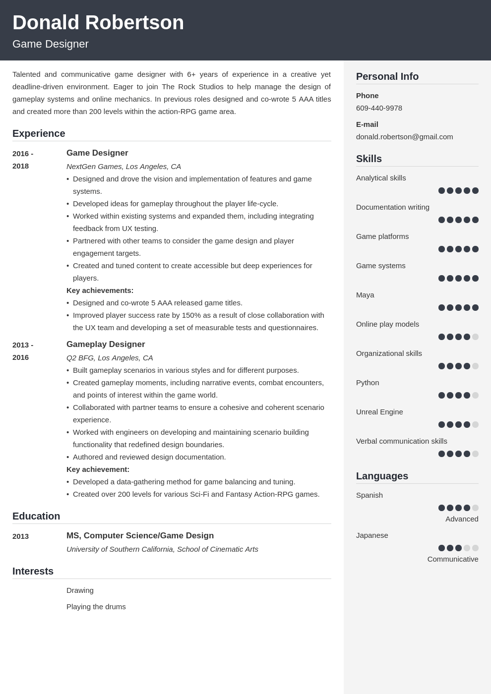 game design resume template cubic