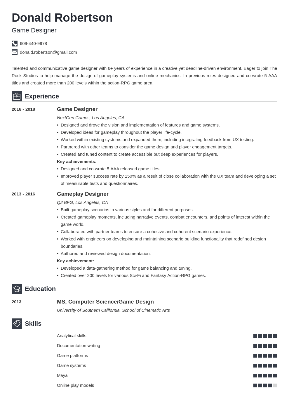 game design resume template iconic