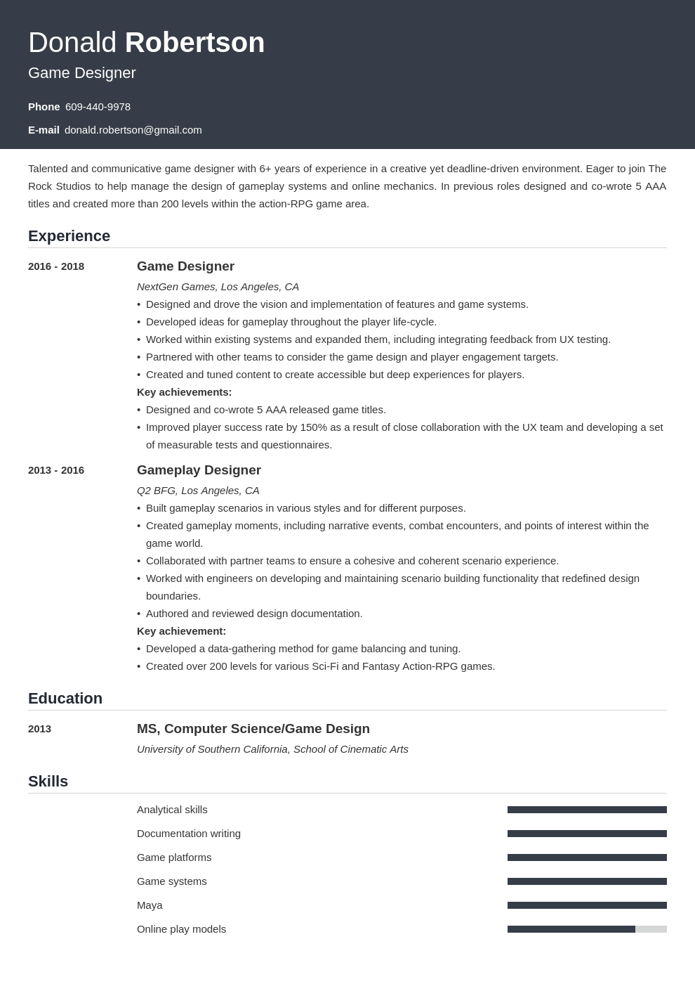 game design resume template influx