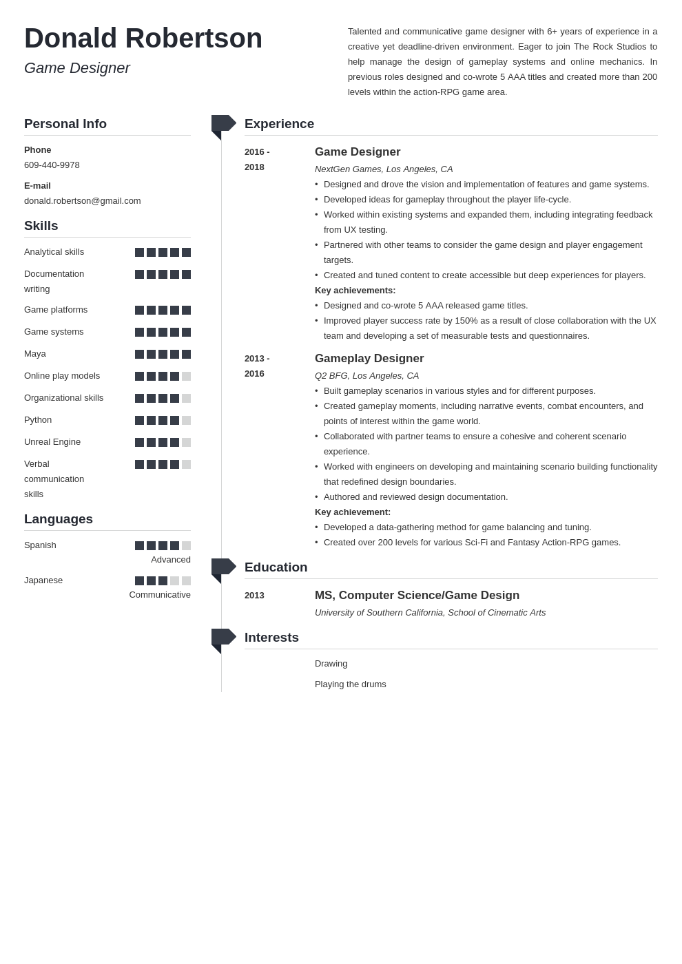 game design resume template muse