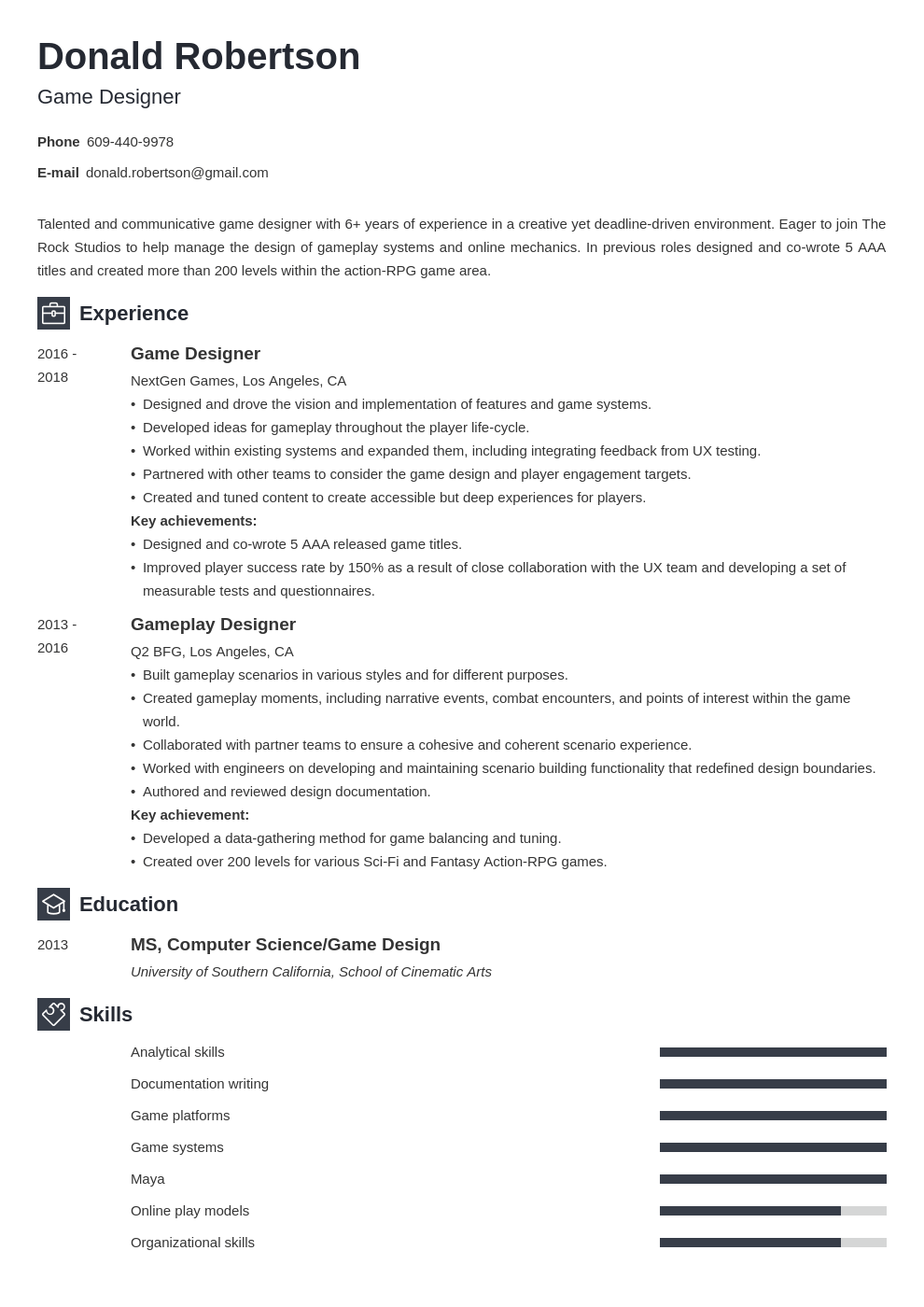 Game Design Resume Sample Writing Guide 20 Tips